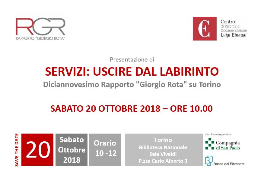 """XIX Rapporto Giorgio Rota su Torino: """"Servizi: uscire dal labirinto"""""""