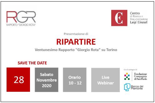 """XXI Rapporto """"Giorgio Rota"""" su Torino"""