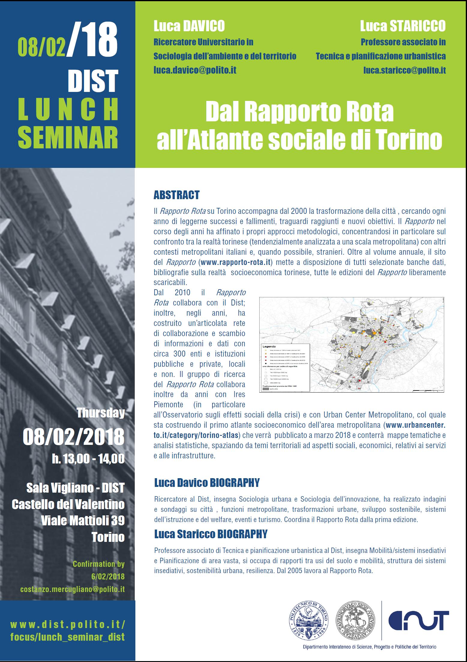 02 FEBBRAIO 2018: Dal Rapporto Rota all'Atlante sociale di Torino