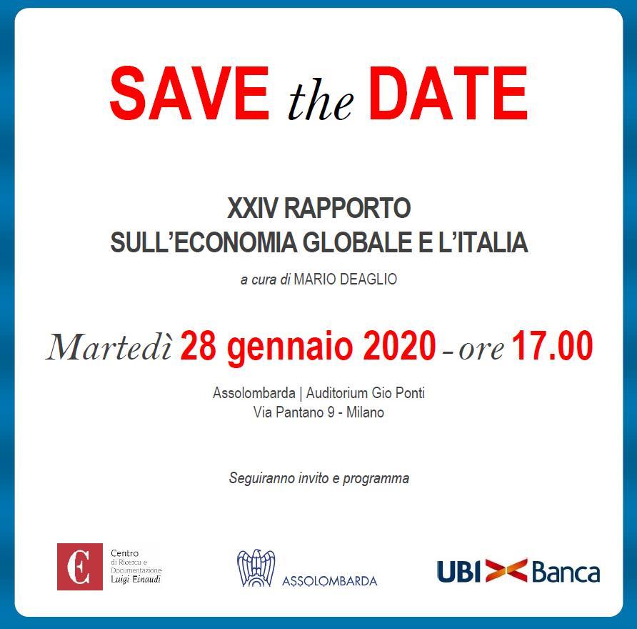 Presentazione del Rapporto sull'economia globale e l'Italia